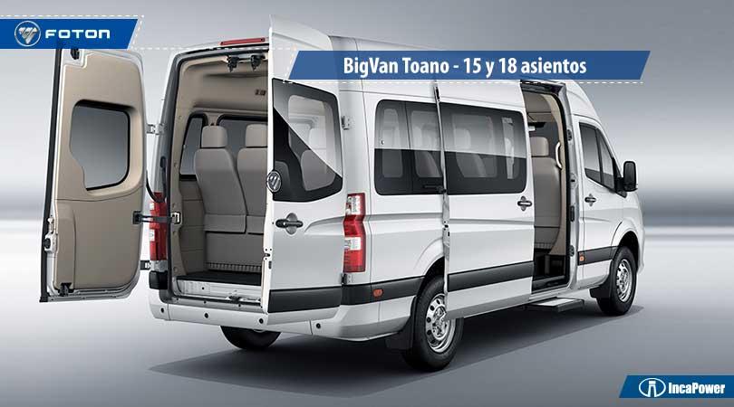 ¿Cuántos asientos tiene un minibús? Conoce la BigVanToano de Foton con 15 y 18 asientos